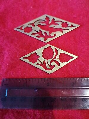 Brass escutcheon and cartouche inlay for vintage/antique writing slope. Rare