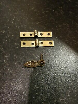 Pair of brass strap hinges for antique writing slope. Plus flap key and screw