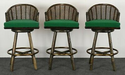 McGuire Set of Three Rattan and Brass Swivel Bar Stools Mid Century Modern, 1970