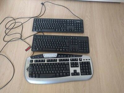 Bundle of 3 - USB WIRED QWERTY KEYBOARD FOR PC DESKTOP COMPUTER LAPTOP - UK