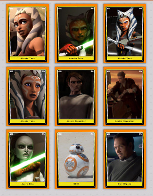 Lot Of 84 Topps Star Wars Card Trader Orange Series 5 & Tlj Base *Not Physical*