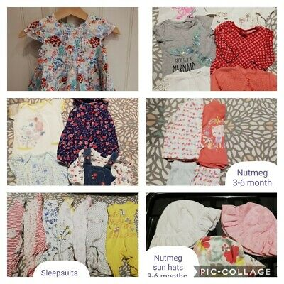 Girls 3-6 Bundle Rompers Dress Sleepsuits hats Next George 25 items great cond