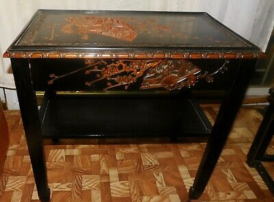 Vintage Chinese Wood End Table w/ Carved Scenes on Sides & Top