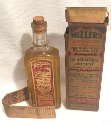 Antique Miller's Anti Pain Snake Oil Bottle Box Rare Herb Juice Medicine Co Rare