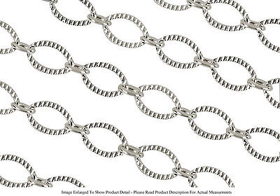 Sterling Silver Plated 9mm x 6.2mm Oval Link Chain Textured Sold by the Foot