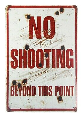US Seller- outdoor metal wall art No shooting beyond this point tin metal sign