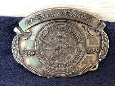 1989 North Dakota Sterling Silver 100 Years Statehood Commemorative Belt Buckle