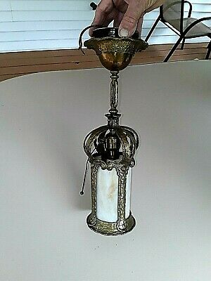 Antique Solid Brass Slag Glass hard wired  lights 100 +years old.