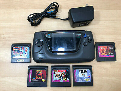 Sega Game Gear Handheld Console Black With 5 Games & AC Cord For Parts Or Repair