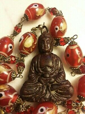 Old Chinese Jade Buddha Pendant Vintage Evil Eye  Red&gold Glass  Necklace Set.