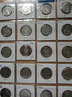 Complete Set of Canada Half Dollars Coins (1968-1987). UNC