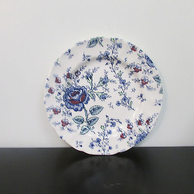 Plate Johnson Bros saucer blue red flowers Made in England Beautiful
