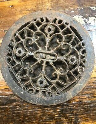 Round Grate Register Louver Duct Cast Iron Floor Wall Antique Ornate