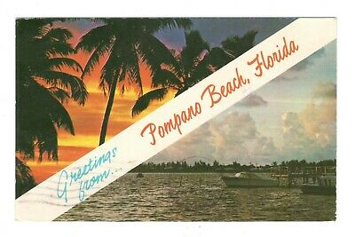 Greetings From Pompano Beach Florida Vintage Postcard AN20