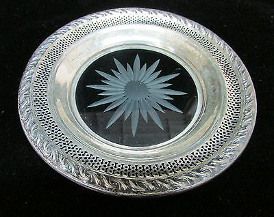 Plate Etched Crystal Sterling Silver Dish Starburst Open Work Signed Quality Pc