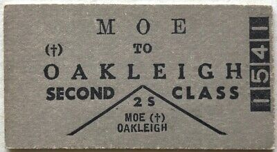 VR Ticket - MOE to OAKLEIGH - 2nd Class Single
