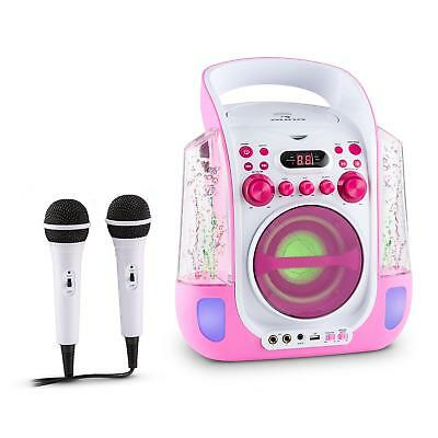 Auna Kara Liquida Chaîne Karaoke Chant Design Cd Usb Mp3 Fontaine Led - Rose