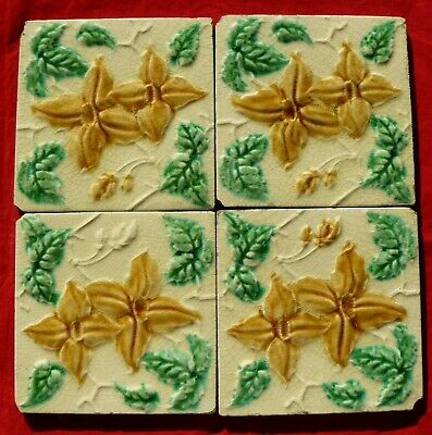 Set of 4 / four Reclaimed Antique Art Nouveau Tiles Yellow Flower & Green Leaves