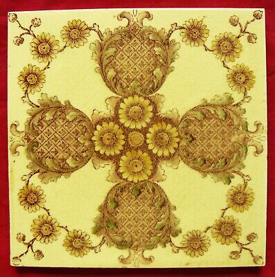 Antique Victorian Aesthetic Movement Print & Tint Pineapple & Flower Tile