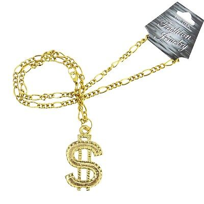 Gold Plated $ Dollar Sign Pimp Necklace NEW Fancy Dress Party Costume Jewellery