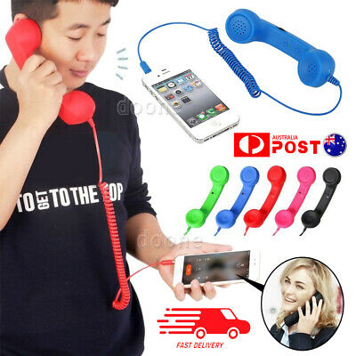 3.5mm Cell Phone Handset Receiver Mic Retro Telephone Radiation Proof For Mobile