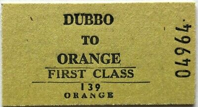 NSWR Ticket - DUBBO to ORANGE - 1st Class Single