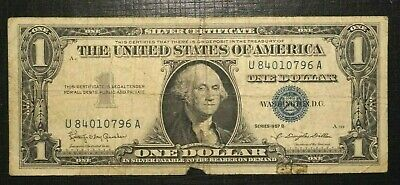 1957 B UNITED STATES Silver Certificate - Blue Seal - 1 Dollar  (255K)