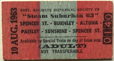 "VR Ticket - ARHS Tour - ""Steam Suburban 63"" - Adult 10 AUG 1963"