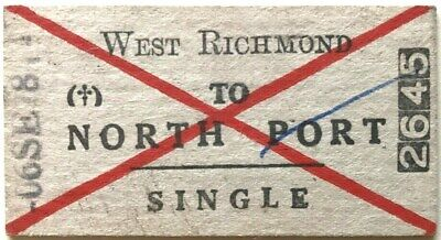 VR Ticket - WEST RICHMOND to NORTH PORT - 1978 Single