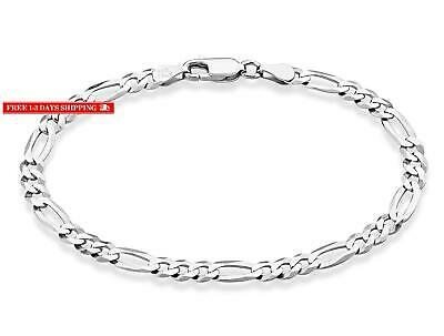 29a97fc9c0b02 7MM FIGARO LINK Chain Diamond-Cut Pave Bracelet Solid .925 Italy ...