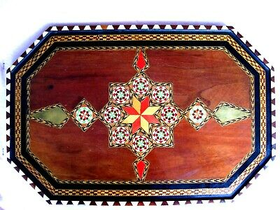"""Inlaid Wood Colorful Serving Tray....Large  (13"""" X 20"""")......Vintage.....REDUCED"""