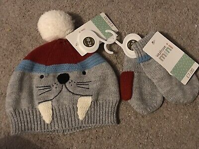 Baby Boys Hat And Matching Gloves Mittens 18-24 Mths Walrus Design Bnwt Rrp £17