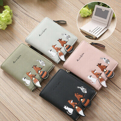 PU Leather Coin Purse Cartoon Women's Wallet Female 1PC Animals Lovely Short