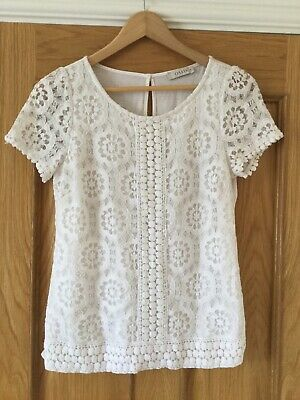 Oasis White Lace Top M