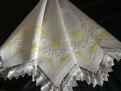 Beautiful Antique Linen Hand Embroidered Tablecloth ~ Art Deco Florals/Lace