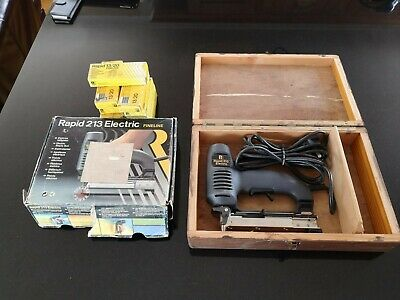Electric Nail & Staple Gun, Rapid 213 + Lots of Staples + wooden box