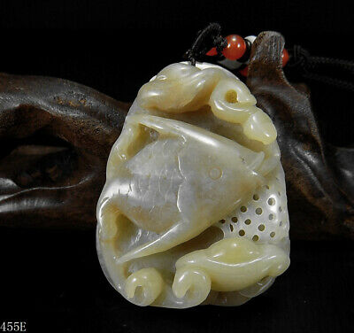100% Natural Hand-carved Chinese Hetian Jade Pendant jadeite angel fish&Ruyi455e