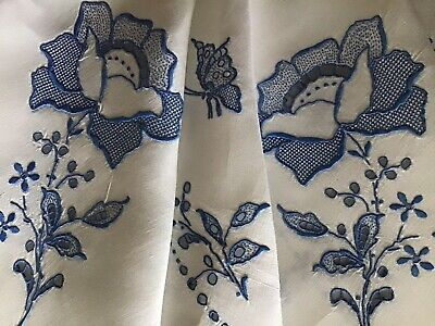 Stunning Large Vintage Linen Tablecloth ~ Blue Madeira Emb ~ Roses & Butterflies