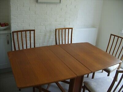 Vintage Mid Century Modern McINTOSH Folding Dining Table & 4 Matching Chairs