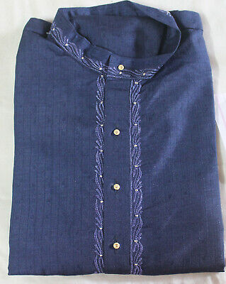 Blue Embroidered Boys  Kurta Pajama  Indian Wedding Shirt Free Shawl Size 13