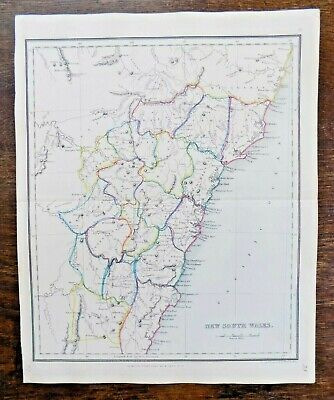 c1845 New South Wales Tegg Findlay Australia Sydney 17 Counties Old Antique Map
