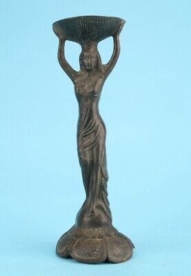Unique Chinese Old Bronze Hand-Cast Beauty Candlestick Art Gift Decoration