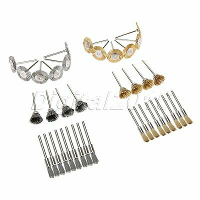 44Pc Mini Stainless Steel Brass Wire Brush Wheel Cup Pencil Electric Rotary Tool