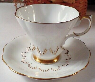 Royal Albert Bone China Made In England Cup & Saucer White & Gold