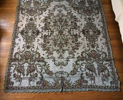 Antique Italian Coverlet Bed Spread Tapestry Silver Satin Cherubs Roses 82x99