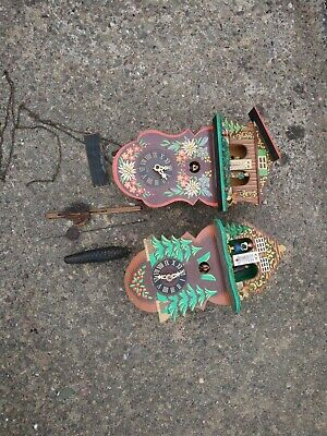 2 x Vintage German Cuckoo Clock Weather Stations For Parts Or Restoration