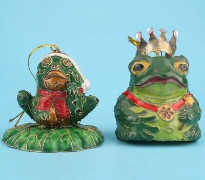 2 Rare Chinese Cloisonne Hand-Carved Frog Animal Statues Old Collection