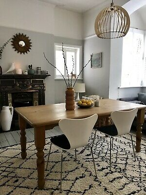 Rustic Pine Farmhouse Dining Kitchen Table, six - Seater