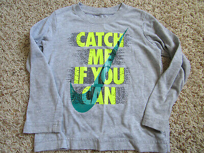 The Nike Tee Boys Shirt 3T Cotton Catch me if you can Gray long sleeve