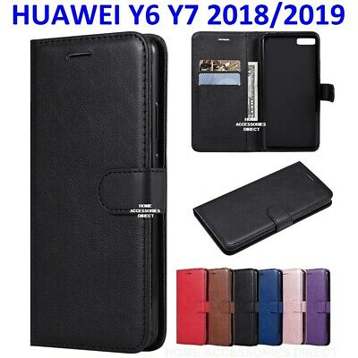 Case for Huawei Y6 Y7 2019 Luxury Genuine Leather Flip Wallet Stand Cover
